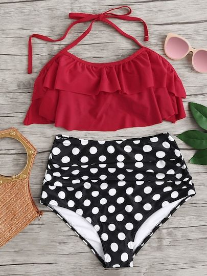 4aeec81cb29bc Polka Dot Ruffle Halter Top With High Waist Bikini | Swim Surf ...