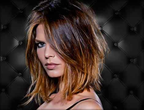 shoulder length bob, short, choppy layers with ombre.
