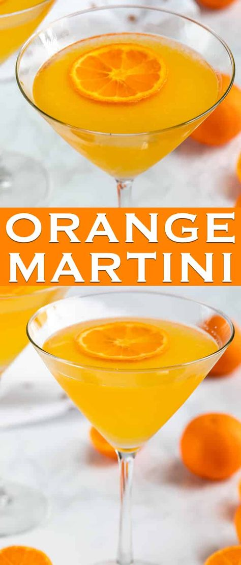 The perfect easy Orange Martini is made with vodka, triple sec, and fresh orange juice! This is the perfect easy homemade martini recipe. via Crazy for Crust Party Drinks, Cocktail Drinks, Fun Drinks, Yummy Drinks, Cocktail Recipes, Fall Cocktails, Sangria Recipes, Party Desserts, Refreshing Drinks