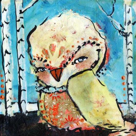 White Owl Art- Only Good Lies Before You - inch Print of a Reproduction of the Original Mixed Media Painting by Juliette Crane