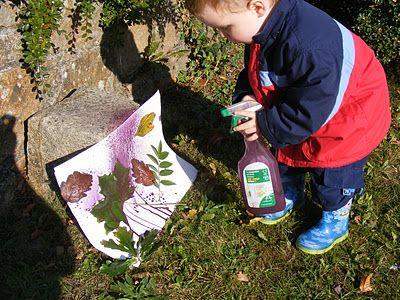 "Spray Painting Leaves ("",)"