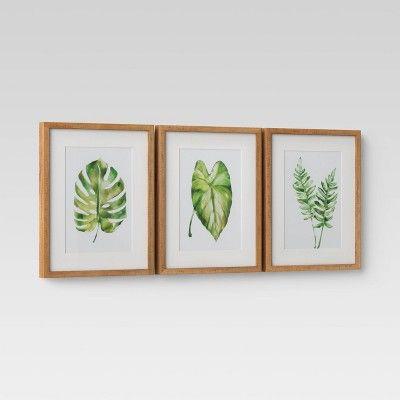 Set Of 3 16 X 20 Leaf Framed Wall Print Threshold Frames On Wall Framed Wall Canvas Wall Prints