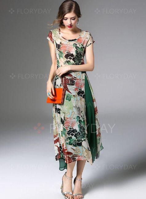 Vestidos Elegante Hasta Los Tobillos Manga Corta Floral