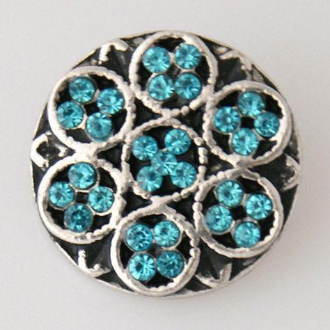 Rhinestone Basket with Flower Snaps Buttons Charms Fit 18mm Snap Jewelry
