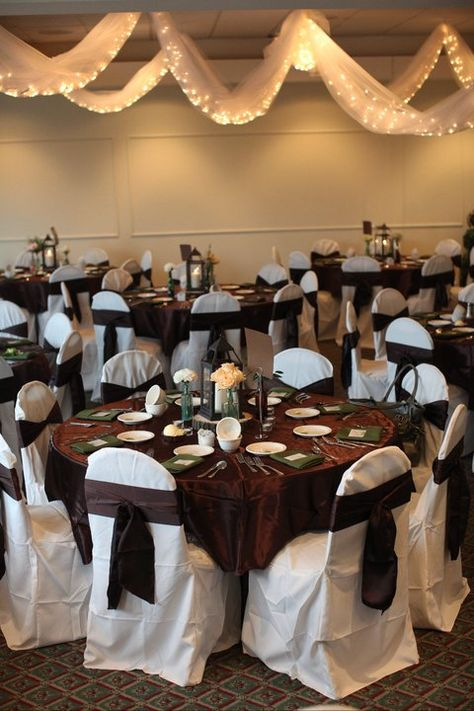 Chocolate Brown Wedding Reception Decor Bar Pinterest White Chair Covers And Satin Sash