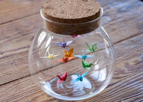 Origami Birds in a Bottle / Jar Origami Crane in Glass Bottle - Gift for Her - Wedding Favour. Origami Birds in a Bottle / Jar Origami Crane in Glass Bottle - Gift for Her - Wedding Favour - Origami Bird - Small Paper Bird Peace Crane , Origami Design, Diy Origami, Origami Star Box, Origami Wedding, Origami Ball, Origami Fish, Useful Origami, Origami Tutorial, Origami Birds