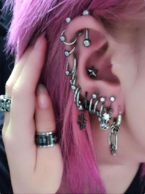 Cute Ear Piercings, Facial Piercings, Multiple Ear Piercings, Tongue Piercings, Cartilage Piercings, Ear Jewelry, Cute Jewelry, Jewellery, Piercing Tattoo