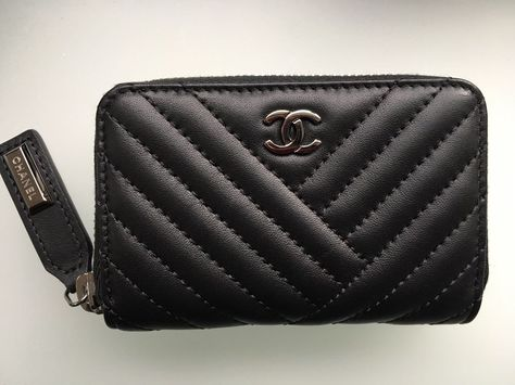 28631d7e8d13 CHANEL CHEVRON SMALL ZIP AROUND WALLET CARD CASE COIN PURSE ! NEW IN BOX  RARE! #CHANEL