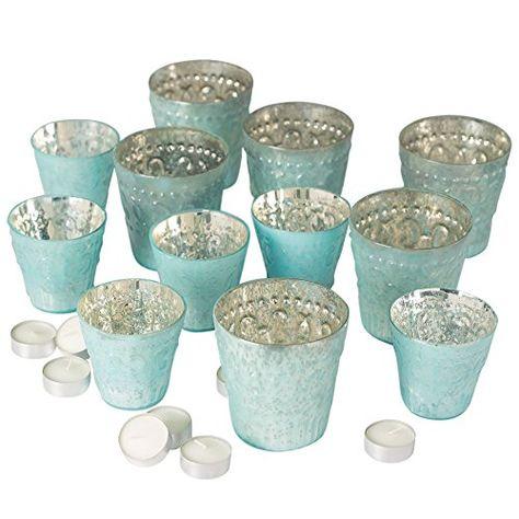 7ffe6c448 Variety Mercury Glass Votive Candle Holder Set and 20 White Tea Light  Candles Six of Each Holder Decorative Centerpieces Chic Decor Elegant  Design Bulk ...