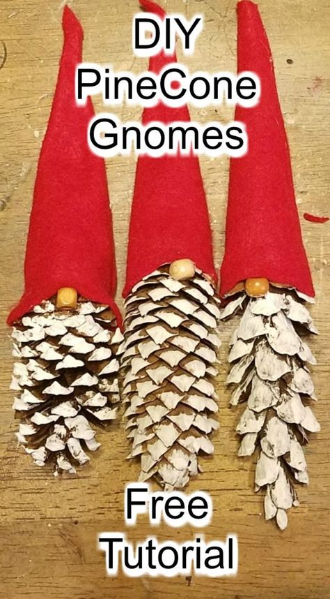 Diy pinecone gnomes diy pinecone flowers with stems Christmas Ornament Crafts, Xmas Crafts, Christmas Projects, Crafts To Sell, Diy Christmas Decorations, Pinecone Crafts Kids, Sell Diy, Christmas Crafts With Pinecones, Pine Cone Crafts For Kids