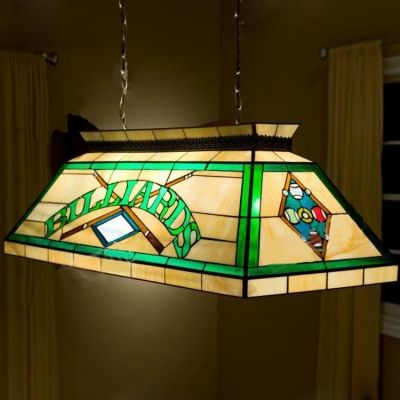 Architecture Billard Pool Table Lamp Stained Glass Tiffany 2 Light