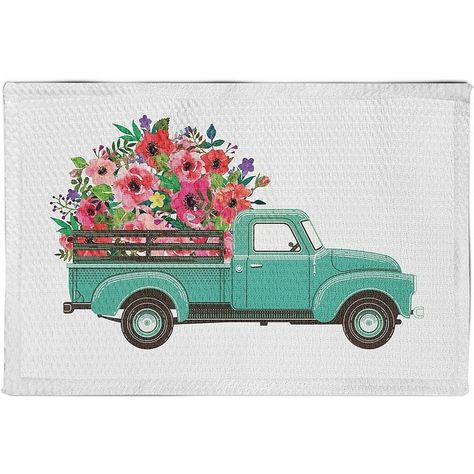 Floral Truck Non Skid Accent Rug 45 Liked On Polyvore Featuring Home Rugs Flowered Rugs Flower Area Rug Flower Stem Truck Crafts Truck Art Truck Paint