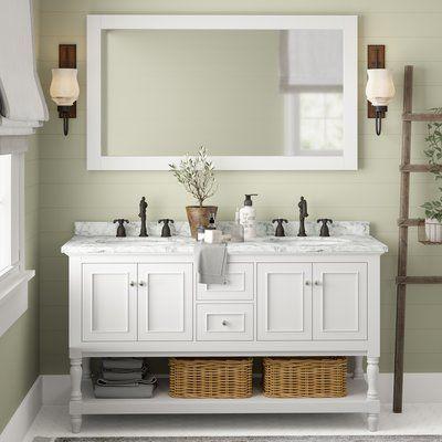 Birch Lane Cape Cod 60 Double Bathroom Vanity Set Double Bathroom Vanity Bathroom Vanity Bathroom Sink Vanity