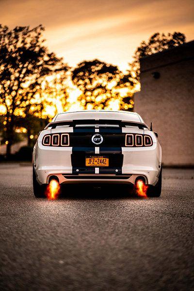 Kunstwerk Ford Mustang Gt Backfires Van Natasja Tollenaar Ford Mustang Wallpaper Mustang Wallpaper Ford Mustang Gt
