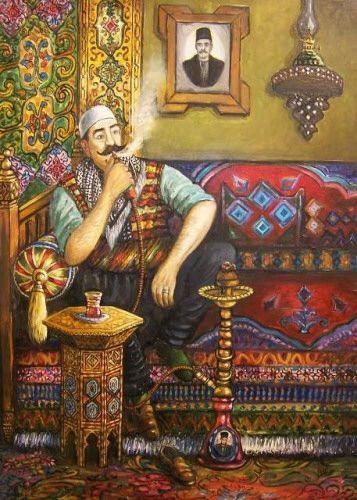 لوحة من التراث الدمشقي Heritage Of Damascus Syrian Man Wearing Old Traditional Costume Arabian Art Eastern Art Oriental Art