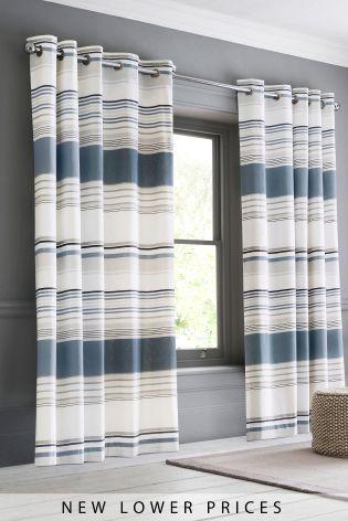 Blue Stripe Blackout Eyelet Curtains Blackout Eyelet Curtains Curtains Blackout Curtains Bedroom