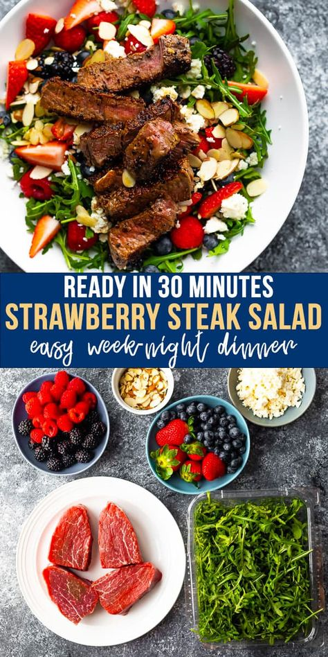 This delicious strawberry arugula salad is loaded with fresh berries, almonds, feta and arugula, topped with seared steak, and drizzled with a balsamic vinaigrette! A fast and easy week-night dinner. #steaksalad #berrysalad #summersalad #dinnersalad #sweetpeasandsaffron