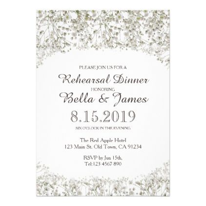 Light Airy Baby S Breath Rehearsal Dinner Invite 2 05 By