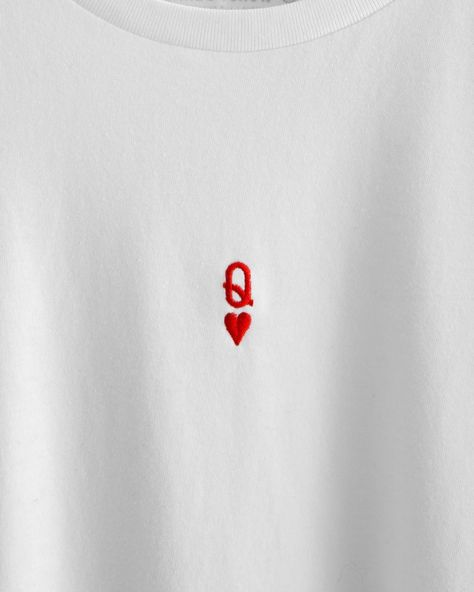 Q-HEART SHIRT WHITE T-shirt made of soft jersey high quality heart embroi. - Q-HEART SHIRT WHITE T-shirt made of soft jersey high quality heart embroidery round neckline loose fit machine wash cotton Style Source by - Embroidery On Clothes, Simple Embroidery, Embroidered Clothes, Embroidery Art, T Shirt Embroidery, White Embroidery, Embroidery Patterns Free, Hand Embroidery Stitches, Embroidery Fashion