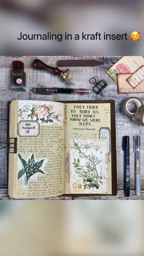 Journaling in a kraft insert 🥰