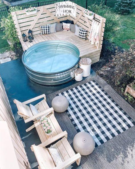 Stock Pools, Stock Tank Pool, Backyard Patio, Backyard Landscaping, Swimming Holes, Farmhouse Homes, Farmhouse Style, Farmhouse Decor, Outdoor Furniture Sets