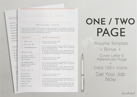 15 best One Page Resume Template images on Pinterest First page - one page resume format