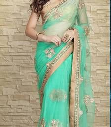 Buy sky-Blue embroidered georgette  saree with blouse bollywood-saree online