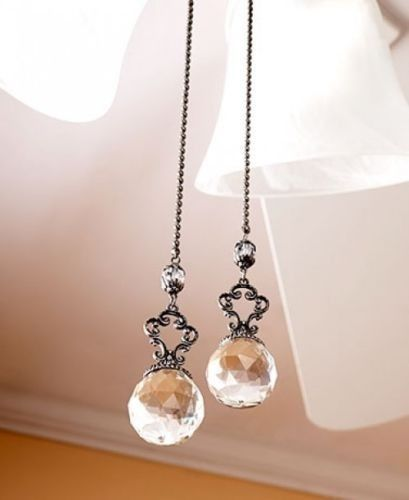 Elegant Vintage Ceiling Fan Pulls Set of 2 Prism Crystals Clear Lamp Pull Chains for sale online | eBay
