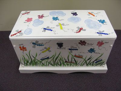 Kid painted toy chest for school auction (leave off names for most wide-spread appeal)