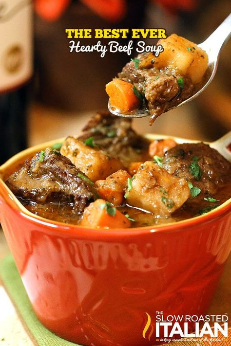 This is the BEST EVER Hearty Beef Soup!  With juicy tender chucks of beef that melt in your mouth and a glorious rich soup loaded with vegetables it is truly the ultimate comfort food. This simple recipe has minimal active time and it is sure to be on your table again and again. #comfortfood #recipe @SlowRoasted
