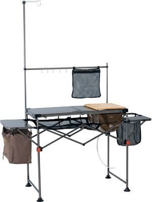 Take Camp Cuisine To A Whole New Level Of Convenience When You Set Up Our Deluxe Camper 39 S Kitchen Powder Coated Ste Camping Table Camping Bed Camp Kitchen