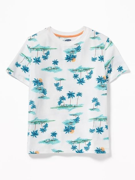 Old Navy Boys' Softest Printed Crew-Neck Tee Scenic Islands Size XS