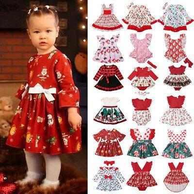 USA Christmas Toddler Kid Baby Girl Xmas Festival Flared Party Santa Swing Dress