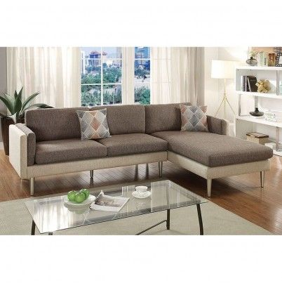 Coffee Platinum Two Tone Fabric 2pc Reversible Chaise Sectional