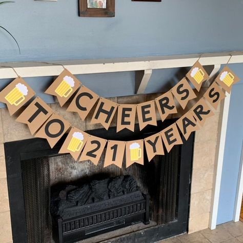 Excited to share this item from my shop: Cheers to 21 Years Banner - Beer Banner- Birthday Decorations - birthday banner - dirty 30 - birthday decorations 21st Birthday Crafts, 21st Birthday Gifts For Guys, 21st Birthday Themes, Beer Birthday Party, 21st Bday Ideas, Birthday Decorations For Men, 25th Birthday Parties, Diy Birthday Banner, Happy Birthday Banners