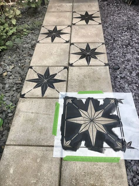How to makeover a concrete slab patio/path for under > Let's Talk. How to makeover a concrete slab patio/path for under > Let's Talk. Concrete Slab Patio, Painted Concrete Porch, Stenciled Concrete Floor, Painted Pavers, Concrete Patio Designs, Pavers Patio, Patio Tiles, Patio Flooring, Concrete Garden