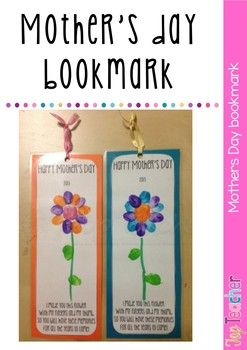 Use this template to create a cute mother's day bookmark using the kids fingers and thumb! We used lots of bright colours and students drew their own stem in texta. Mount on coloured card and laminate!