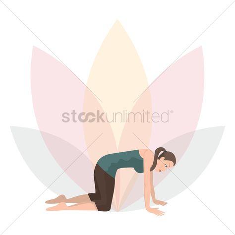 Woman practising yoga in cat pose stock vector , #spon, #yoga, #practising, #Woman, #cat, #vector #affiliate