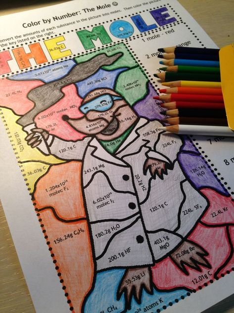 Chemistry Coloring Activities Lovely the Mole Color by Number