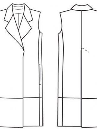 Выкройка прямого удлиненного жилета женского