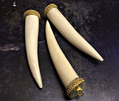 Bone Horn Tusk tooth Pendant with Brass Cap Antique ivory Extra