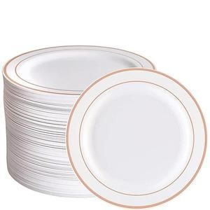 Tableware Set 100 Piece Rose Gold Paris Products Co Gold Plastic Plates Plastic Plates Tableware Set