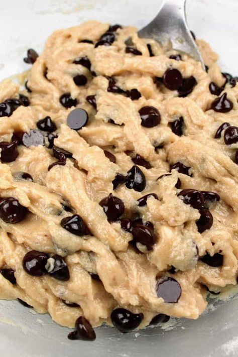 These dairy free chocolate chip cookies are the BEST! Crispy on the outside, chewy on the inside, you'll never know they're also vegan and gluten-free! They are also completely free of the top 8 allergens! #thepanickedfoodie #vegancookies #cookies #dairyfreecookies #glutenfreecookies #chocolatechipcookies #cookieschocolate