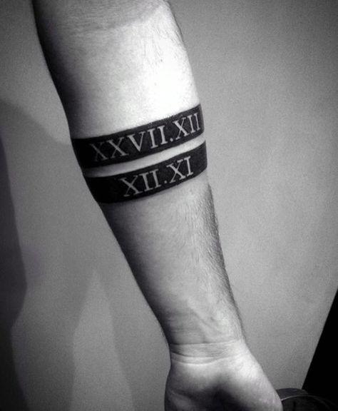c8e25b074c7f9 Gentleman With Black Band Roman Numerals Forearm Tattoo