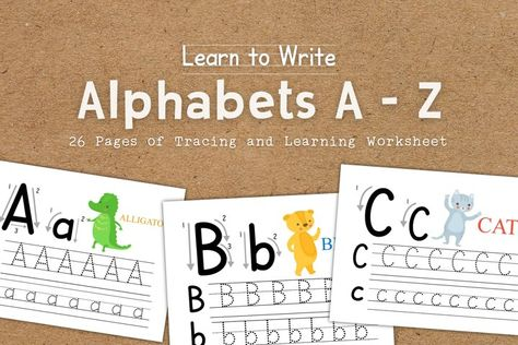 Learn to Write 26 Alphabets A to Z Educational Worksheets