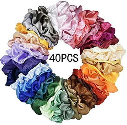 40 Colors 40 Pcs Women or Girls Velvet Elastic Hair Scrunchies Hair Bands Scrunchy Hair Ties Ropes Hair Accessories