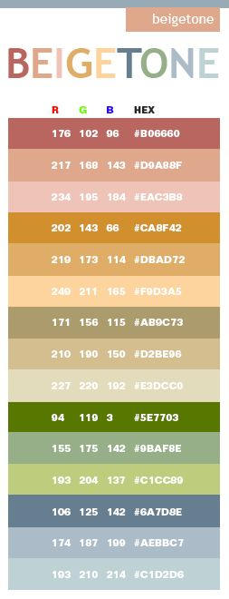 Beige Tones In Hex And Rgb For The Home Pinterest Color