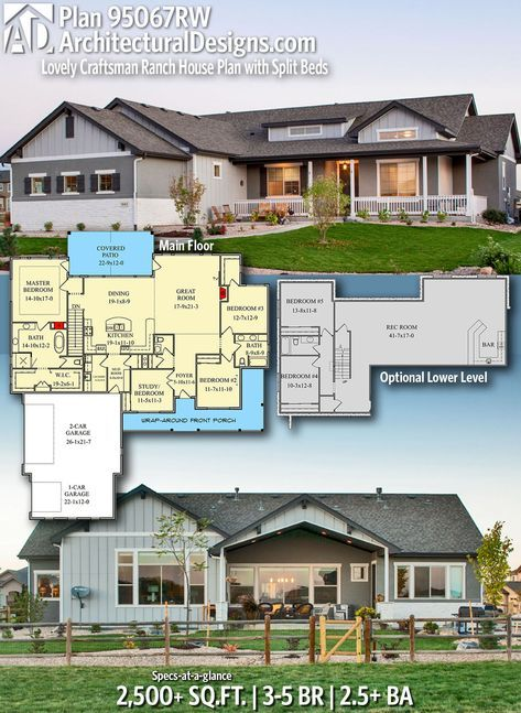 Plan 95067rw Lovely Craftsman Ranch House Plan With Split Beds In 2020 Ranch House Plan House Plans New House Plans