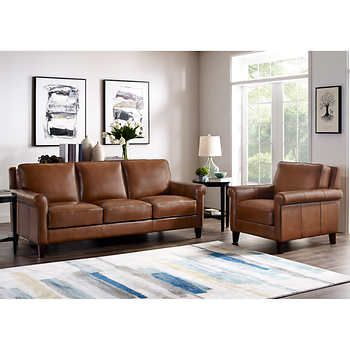Larsen 2 Piece Top Grain Leather Set Sofa Chair Top Grain