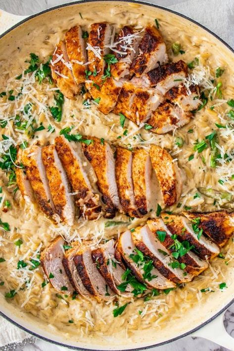 Creamy Parmesan Orzo with Chicken and Asparagus - Top Recipes On The Internet